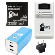 Logitech L-LL11 Battery with Universal Charger (100/240V), 8000mAh Portable External Battery Charger and EU Adapter