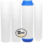 12-Pack Reverse Osmosis Water Filter Kit - Includes PP Sediment Filters, GAC Filter & Inline Filter Cartridge