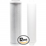 12-Pack Reverse Osmosis Water Filter Kit - Includes Carbon Block Filter & Inline Filter Cartridge