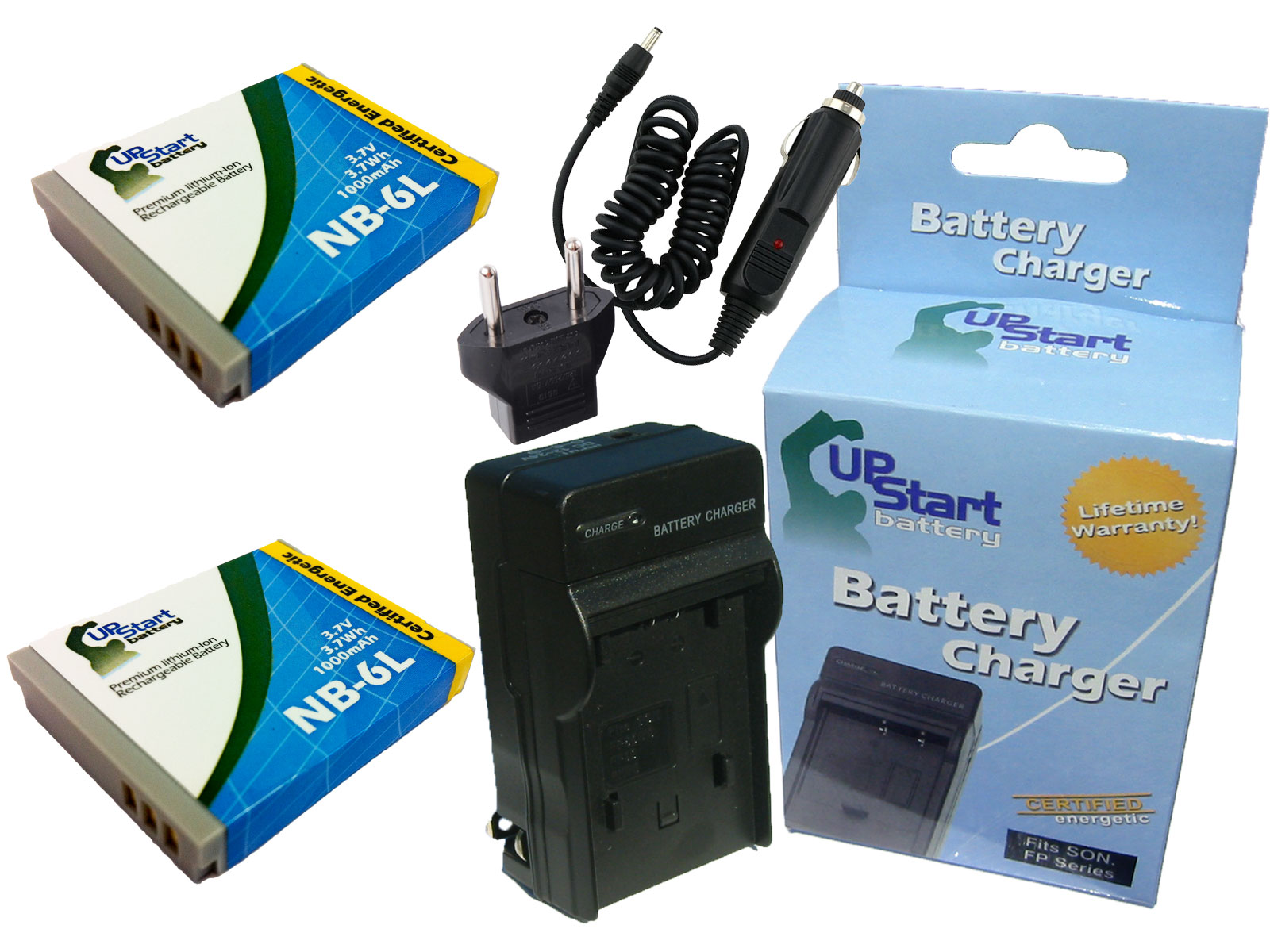 UpStart Battery 2x Pack - Canon IXUS 95 IS Battery + Charger with Car & EU Adapters - Replacement for Canon NB-6L Camera Battery and Charger at Sears.com