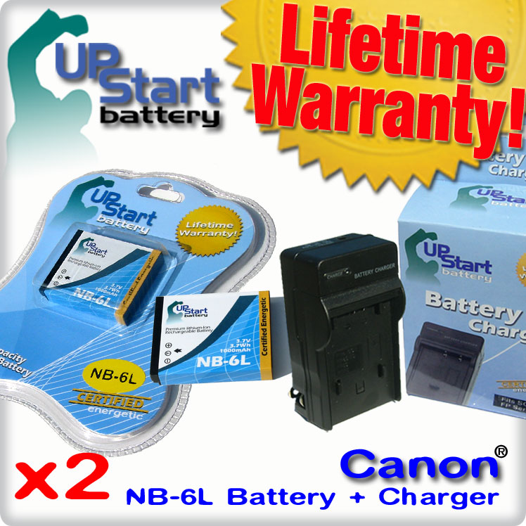 UpStart Battery 2x Pack - Canon PowerShot S120 Battery + Charger - Replacement for Canon NB-6L Digital Camera Battery and Charger at Sears.com